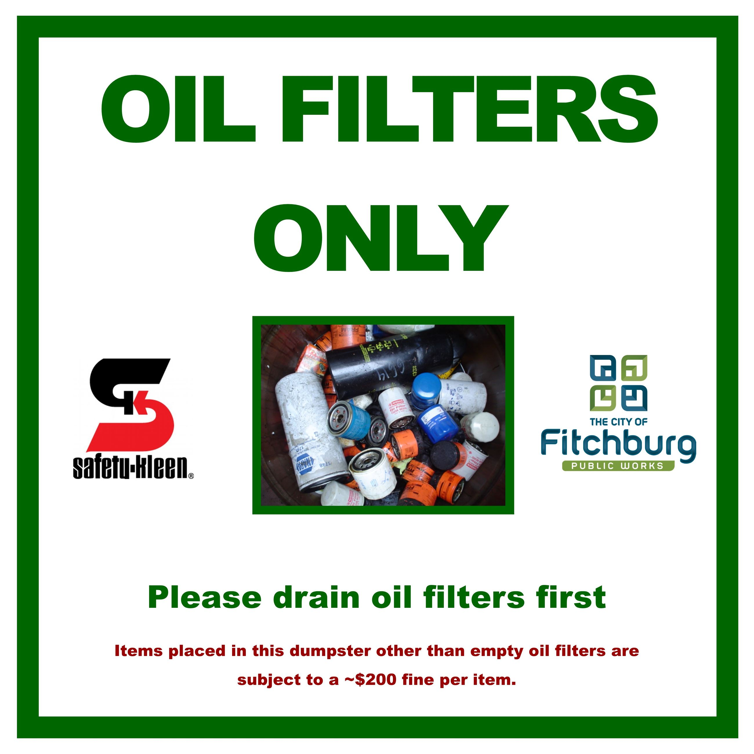 Oil Filters Only Aluminum Sign 2x2 2015-12-14