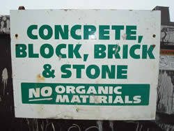 stone recycling sign