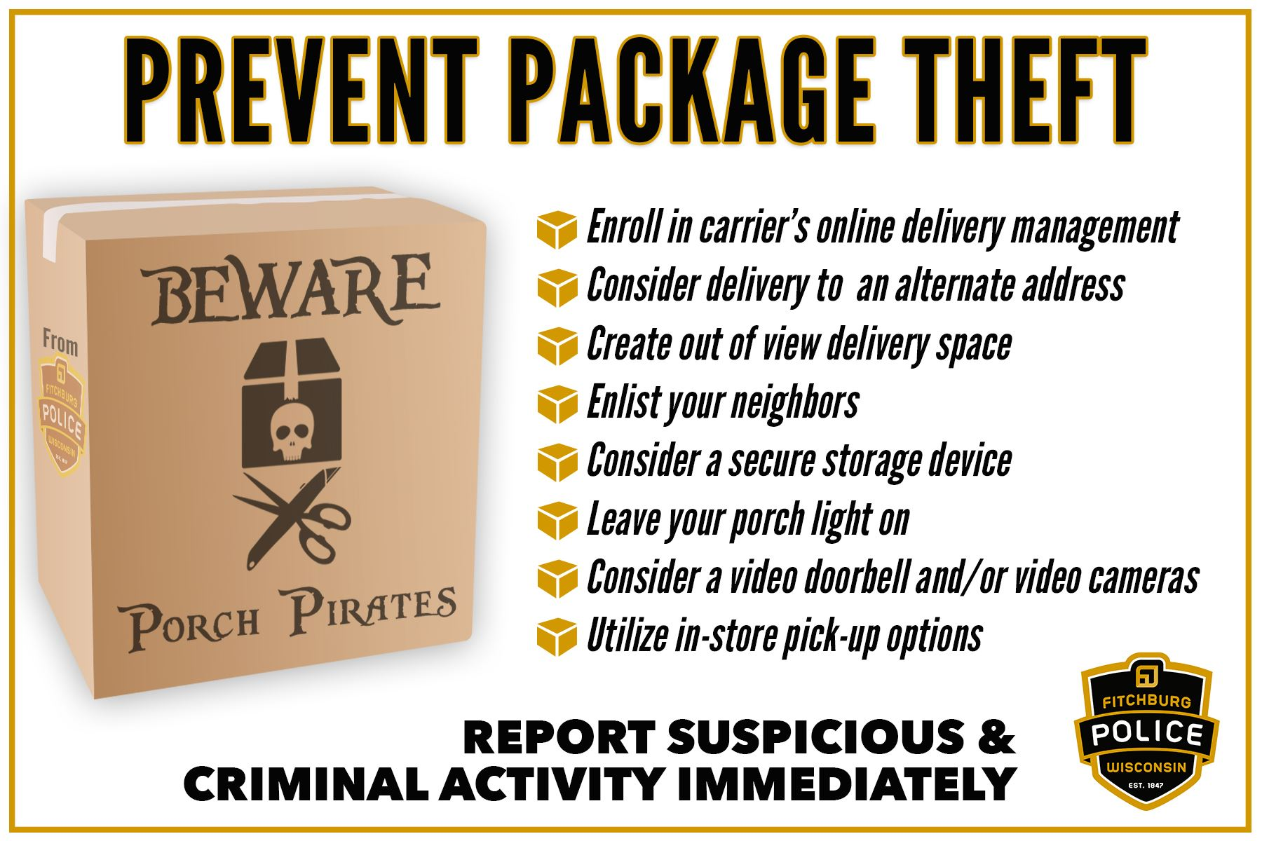 prevent package theft pirates